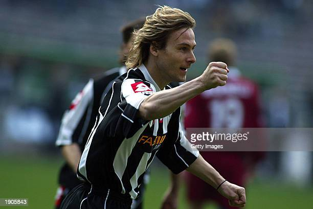 Pavel Nedved of Juventus celebrates scoring during the Serie A match between Juventus and Torino played at the Stadio Delle Alpi Turin Italy on April...