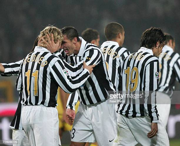 Pavel Nedved of Juventus celebrates with teammates after scoring the first goal during the Serie B match between Juventus and Pescara at the Delle...