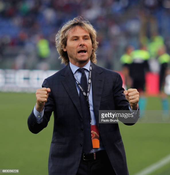 Pavel Nedved of Juventus FC reacts during the Serie A match between AS Roma and Juventus FC at Stadio Olimpico on May 14 2017 in Rome Italy