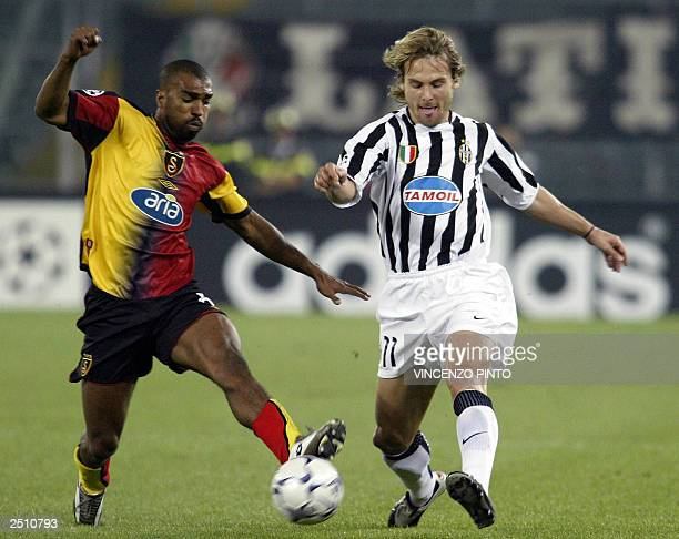Pavel Nedved of Juventus kicks the ball in front of Galatasaray's Joao Batista during their first round of Champions League Group D match at Delle...