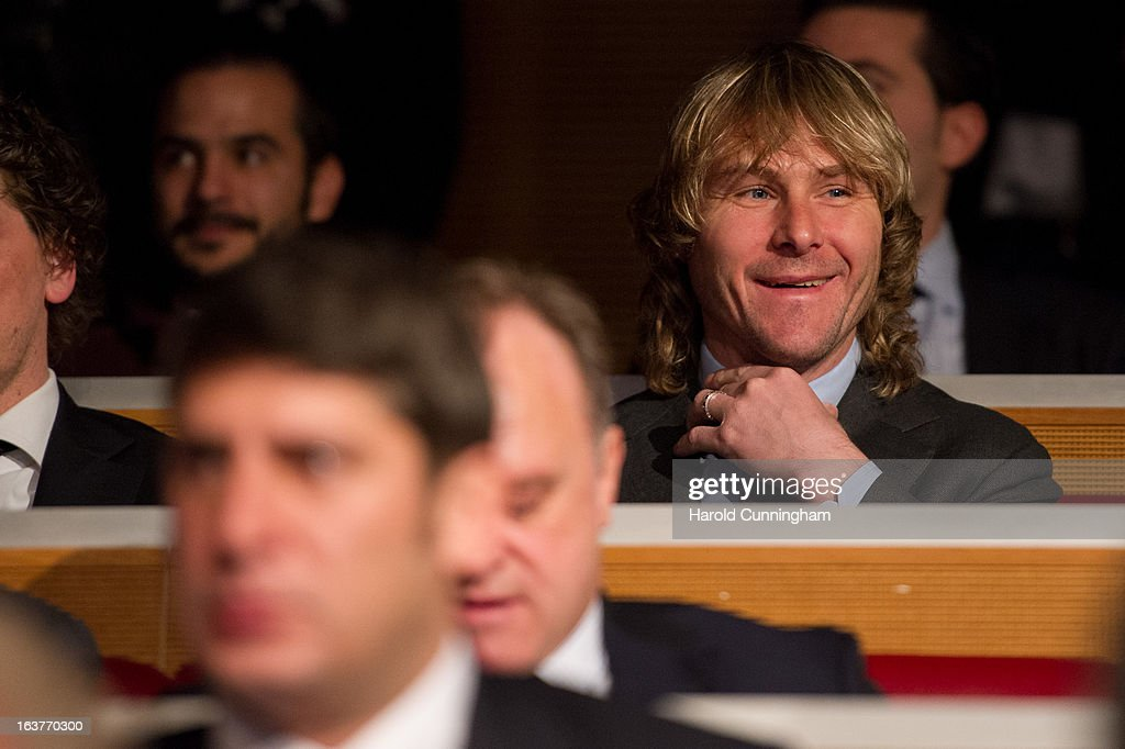 Pavel Nedved of Juventus looks on during the UEFA Champions League quarter finals draw at the UEFA headquarters on March 15, 2013 in Nyon, Switzerland.