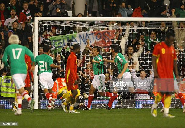 Pavel Pardo of Mexico celebrates after scoring his team's second goal during the international friendly match between Ghana and Mexico at Craven...