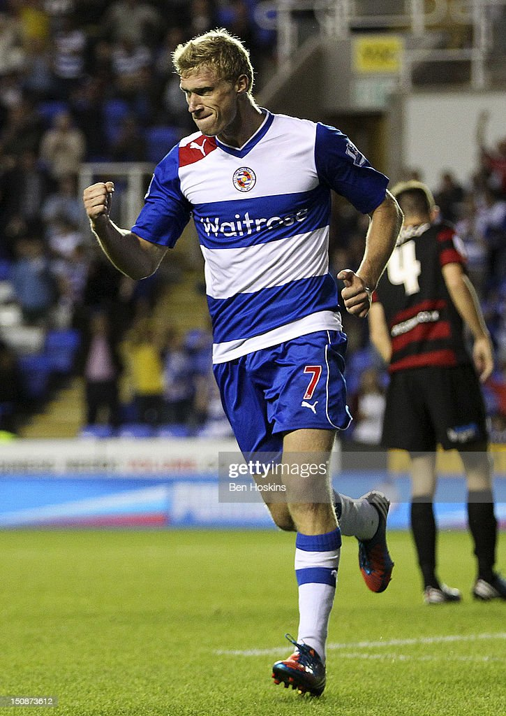 Pavel Pogrebnyak of Reading celebrates scoring his team's first goal of the game during the Capital One Cup Second Round match between Reading and...
