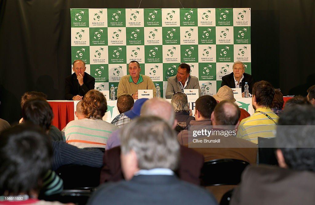 Pavel Slozil,Ivan Lendl,Tomas Smid and Jan Kodes listen to a question from the press during a special press conference with the 1980 Czechoslovakian winning Davis Cup team during day one prior to the final Davis Cup match between Czech Republic and Spain at the 02 Arena on November 16, 2012 in Prague, Czech Republic.