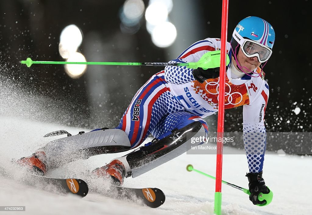 Pavel Trikhichev of Russia competes during the second run of the Men's Slalom on Day 15 of the Sochi 2014 Winter Olympics at Rosa Khutor Alpine Centre on February 22, 2014 in Sochi, Russia.