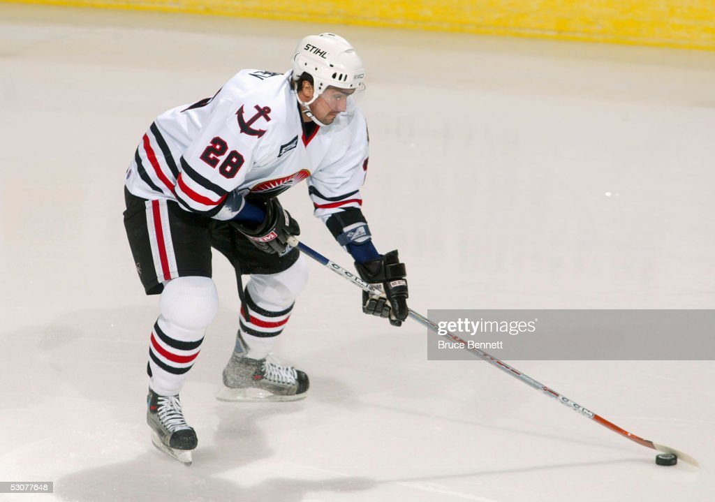 Pavel Vorobiev of the Norfolk Admirals controls the puck against the Bridgeport Sound Tigers during the game at the Arena at Harbor Yard on November...