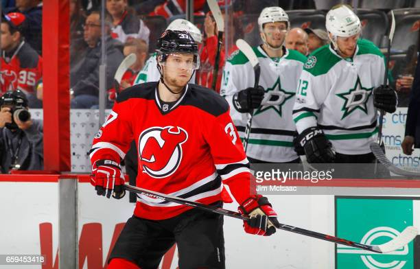 Pavel Zacha of the New Jersey Devils in action against the Dallas Stars on March 26 2017 at Prudential Center in Newark New Jersey The Stars defeated...