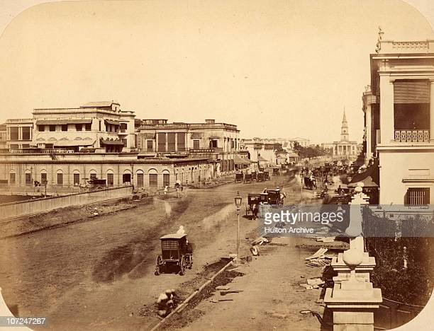 A pavement under construction in Calcutta circa 1880 At the far end is St Andrew's Church on the corner of Dalhousie Square