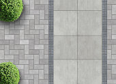 exterior detail in aerial view with permeable paving