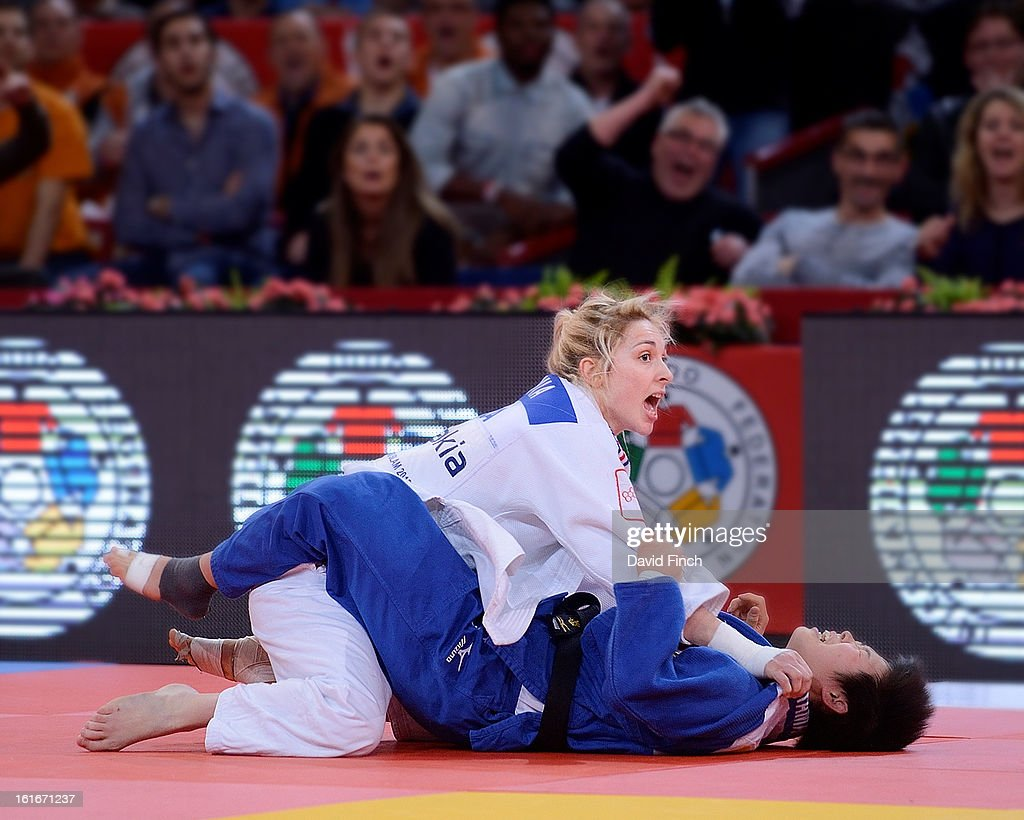 Pavia Automme of France (white) threw Anzu Yamamoto of Japan for ippon (10 points) to win the u57kgs gold medal during the Paris Grand Slam on day 1, Saturday, February 09, 2013 at the Palais Omnisports de Paris, Bercy, Paris, France.