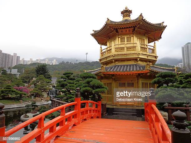 Pavilion and Orange Bridge, Nan Lian Garden, Hong Kong, China