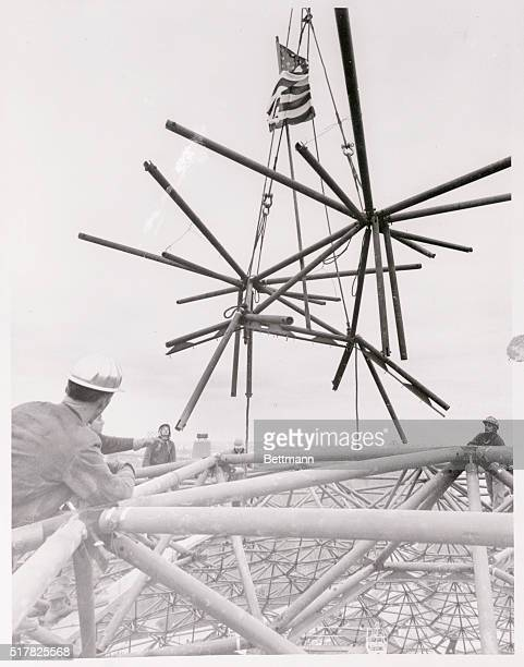 US Pavilion at Expo 67 Montreal Canada Steelworkers putting up the US Pavilion at the site of Expo 67 the 1967 world exhibition here raise an...
