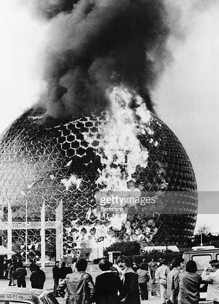 US Pavilion Burns Montreal The former US Pavilion at Expo 67 designed by architect Buckminster Fuller which cost $3000 to build burst into flames May...