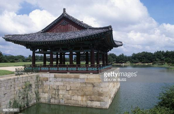 Pavilion on Anapchi Pond built by King Munmu adjacent to the Summer Palace of the Kingdom of Silla Gyeongju South Korea 7th century