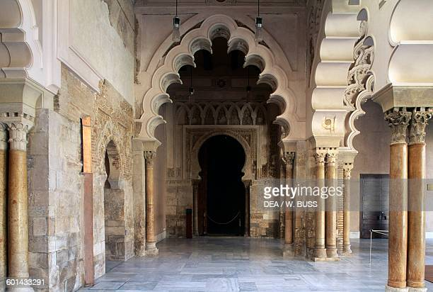 Pavilion with arches and columns in the Mudejar style Taifal palace Aljaferia palace Zaragoza Aragon Spain 9th19th century