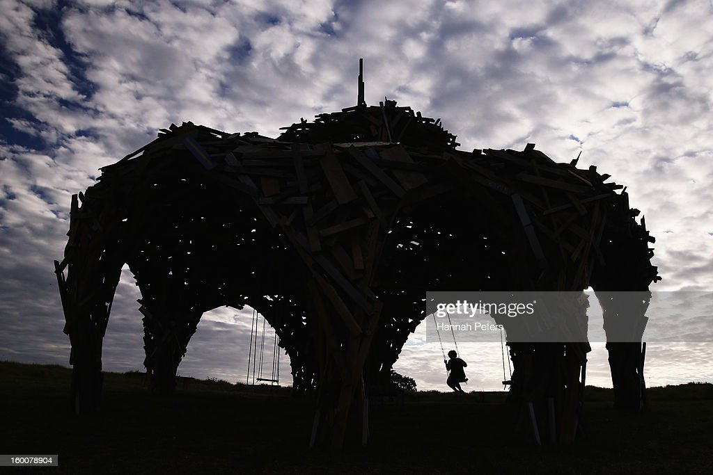 'Pavillion Structure' by Gregor Kregar is part of Sculpture On the Gulf exhibition on January 25, 2013 on Waiheke Island, New Zealand.