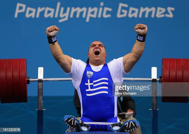 Pavlos Mamalos of Greece competes in the Men's 90 kg Powerlifting on day 6 of the London 2012 Paralympic Games at ExCel on September 4 2012 in London...