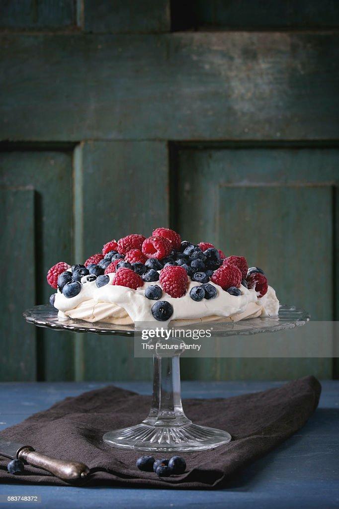 Pavlova dessert with fresh berries