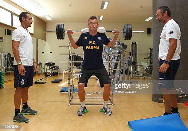 Pavol Bajza of Parma FC trains in the gym at Park Hotel Ai Cappucini on August 5 2013 in Gubbio Italy