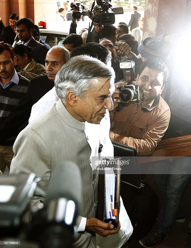 Pawan Kumar Bansal, Union Railway Minister arrives at the Parliament House to present the annual railway budget on February 26, 2013 in New Delhi, India.