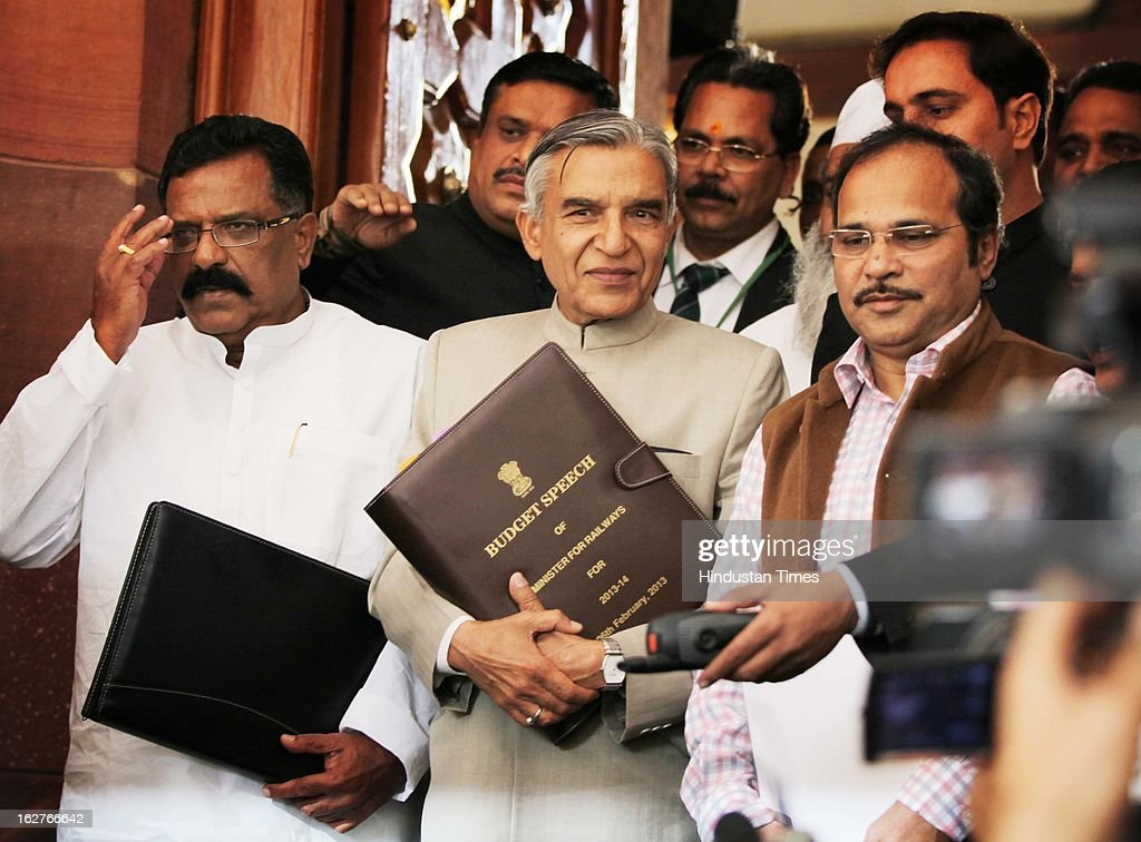 Pawan Kumar Bansal, Union Railway Minister with MOS arrive at the Parliament House to present the annual railway budget on February 26, 2013 in New Delhi, India.
