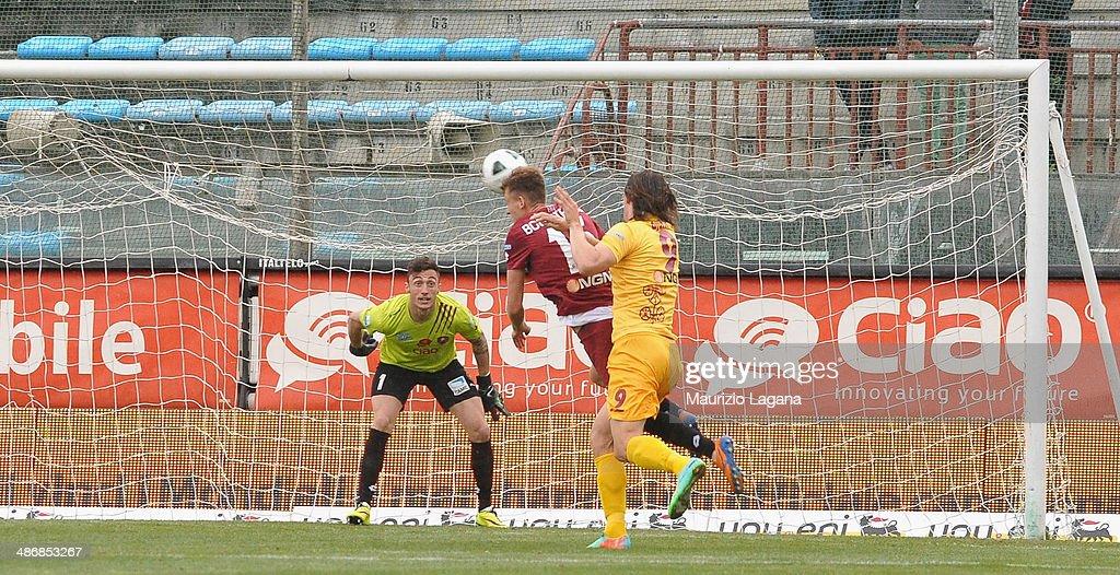 Pawel Bochniewincz of Reggina scores a own goal during the Serie B match between Reggina Calcio and AS Cittadella on April 26 2014 in Reggio Calabria...