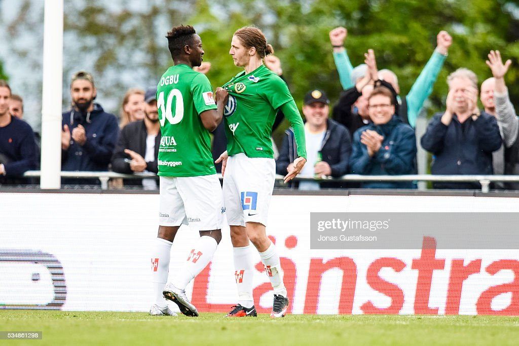 Pawel Cibicki of Jonkopings Sodra celebrates after scoring 1-1 during the allsvenskan match between Jonkopings Sodra IF and GIF Sundsvall at Stadsparksvallen on May 28, 2016 in Jonkoping, Sweden.