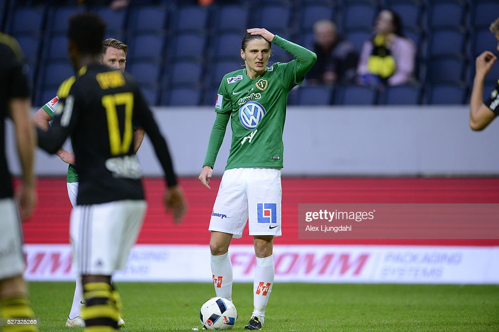 Pawel Cibicki of Jonkopings Sodra during the allsvenskan match between AIK and Jonkkoping Sodra IF at Friends arena on May 2, 2016 in Solna, Sweden.