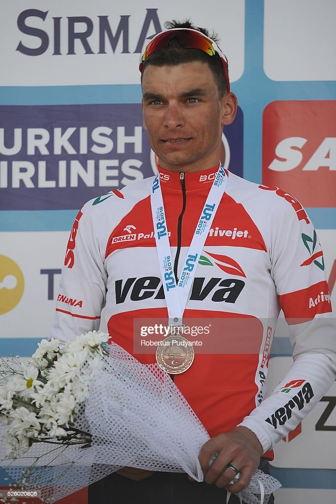 Pawel Cieslik of Verva Activejet Pro Cycling Team celebrates on the podium after taking third position during Stage 6 of the 2016 Tour of Turkey, Kumluca to Elmali (117 km) on April 29, 2016 in Ankara, Turkey.