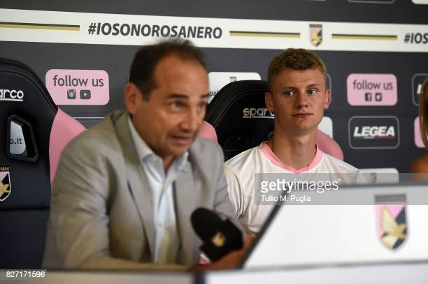 Pawel Dawidowicz answers questions with Sport Director Fabio Lupo during his presentation as new player of US Citta' di Palermo at Campo Tenente...