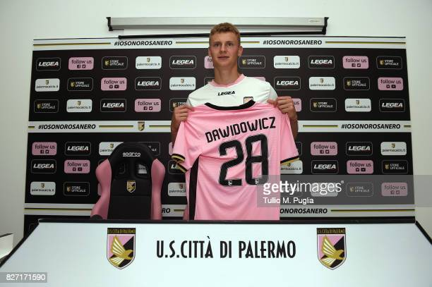 Pawel Dawidowicz poses during his presentation as new player of US Citta' di Palermo at Campo Tenente Onorato on August 7 2017 in Palermo Italy