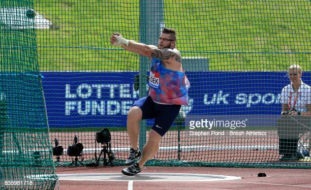 Pawel Fajdek of Great Britain in the men's hammer throw during the Muller Grand Prix and IAAF Diamond League event at Alexander Stadium on August 20...