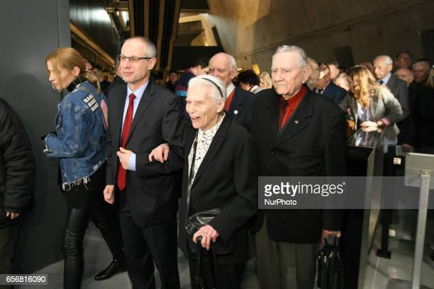 Pawel Machcewicz the Second World War Museum director and Joanna MuszkowskaPenson are seen on 23 March 2017 in Gdansk Poland World War II Museum the...