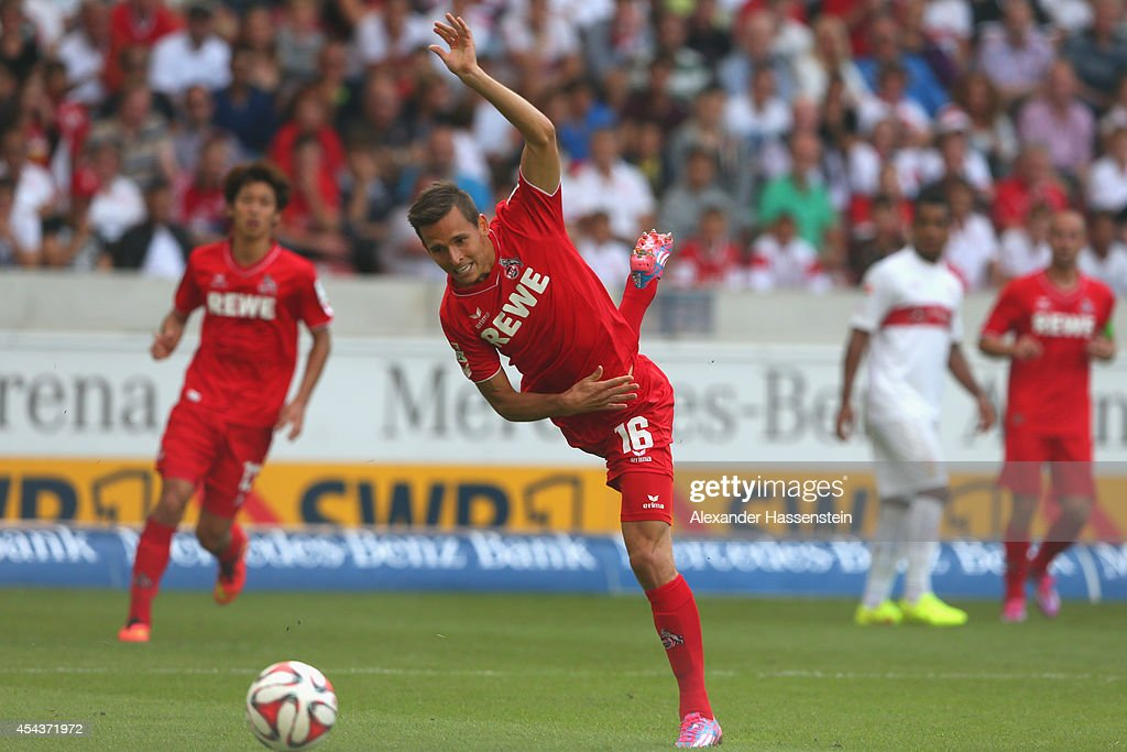 Pawel Olkowski of Koeln battles for the ball during the Bundesliga match between VfB Stuttgart and 1. FC Koeln at Mercedes-Benz Arena on August 30, 2014 in Stuttgart, Germany.