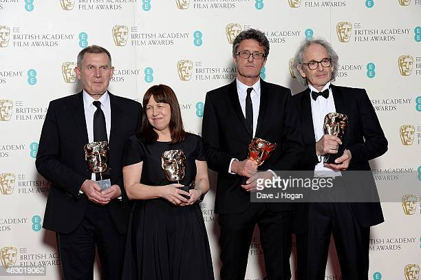 Pawel Pawlikowski Eric Abraham Piotr Dzieciol and Ewa Puszczynska winners of Best Film Not in The English Language for 'Ida' pose in the winners room...