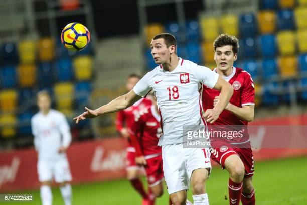 Pawel Tomczyk Jacob Rasmussen during UEFA U21 Championship Qualifier match between Poland and Denmark on November 14 2017 in Gdynia Poland