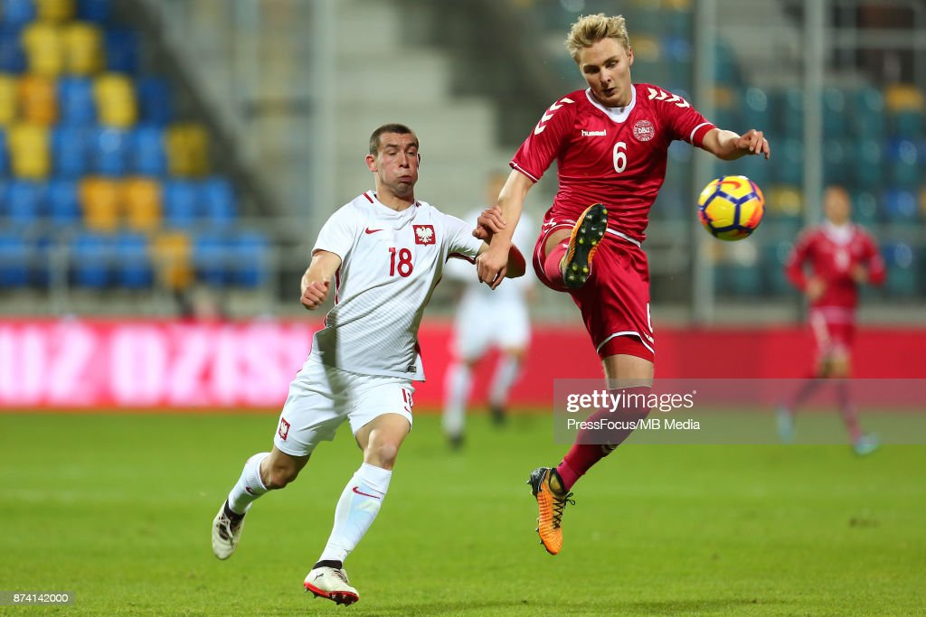 Pawel Tomczyk of Poland and Victor Nelsson of Denmark during UEFA U21 Championship Qualifier match between Poland and Denmark on November 14, 2017 in Gdynia, Poland.