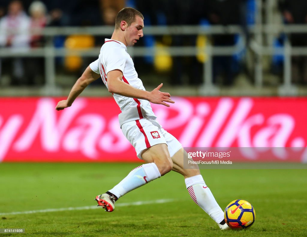 Pawel Tomczyk scores a goal during UEFA U21 Championship Qualifier match between Poland and Denmark on November 14, 2017 in Gdynia, Poland.