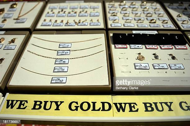 Pawn Brokers window on St Johns Road Clapham on September 24 2013 in London England The Labour leader Ed Miliband in his party conference speech has...