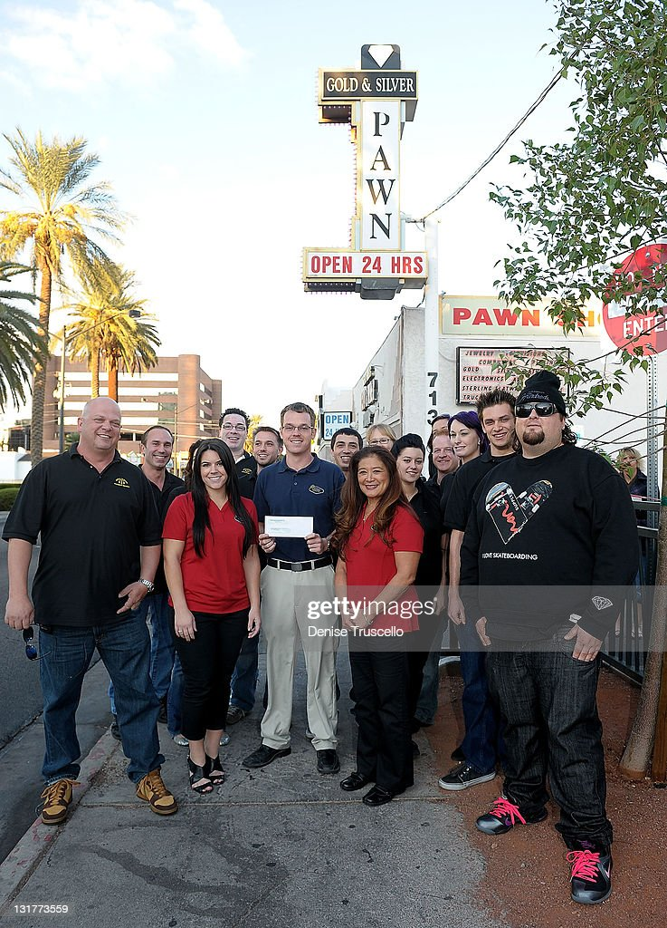 'Pawn Stars' cast Rick Harrison Stephanie Maes Mike Siegel Donna Millwood and Austin 'Chumlee' Russell are seen as 'Pawn Stars' Gold Silver Pawn Shop...