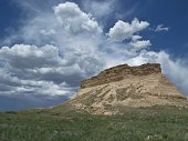 A butte rising up out of the expanse of the Pawnee National Grasslands, a striking feature in the desolate landscape of eastern Colorado.