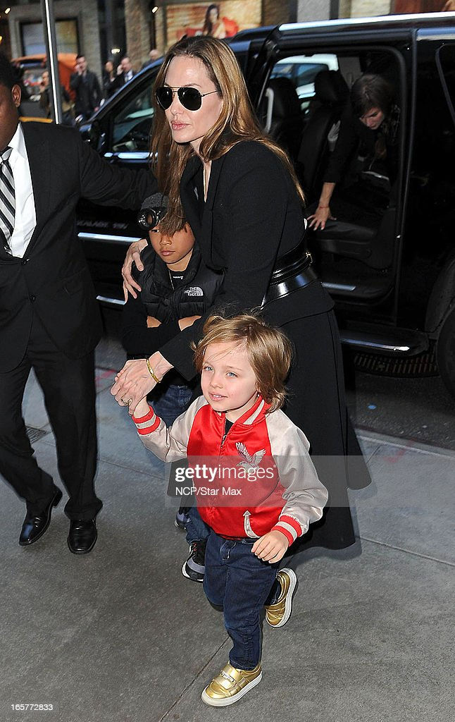 Pax Thien, Angelina Jolie, Knox Leon as seen on April 5, 2013 in New York City.