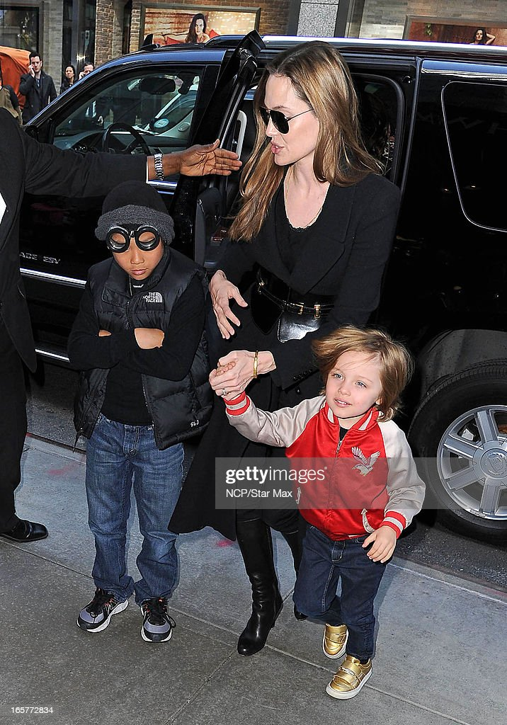 Pax Thien, <a gi-track='captionPersonalityLinkClicked' href=/galleries/search?phrase=Angelina+Jolie&family=editorial&specificpeople=201591 ng-click='$event.stopPropagation()'>Angelina Jolie</a>, Knox Leon as seen on April 5, 2013 in New York City.