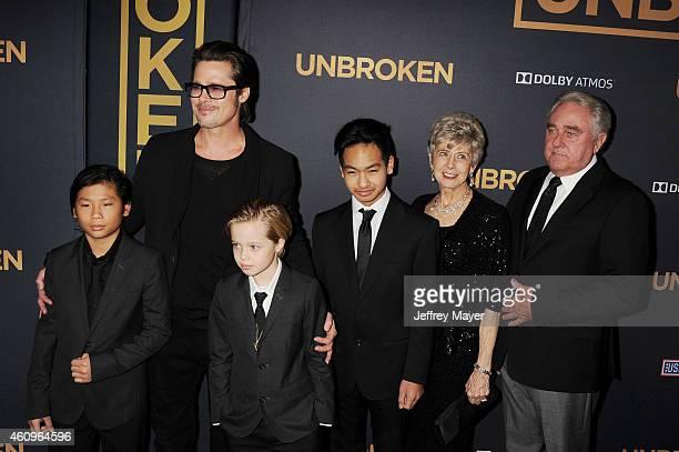 Pax Thien JoliePitt actor Brad Pitt Shiloh Nouvel JoliePitt Maddox JoliePitt Jane Pitt and William Pitt attend the 'Unbroken' Los Angeles premiere...