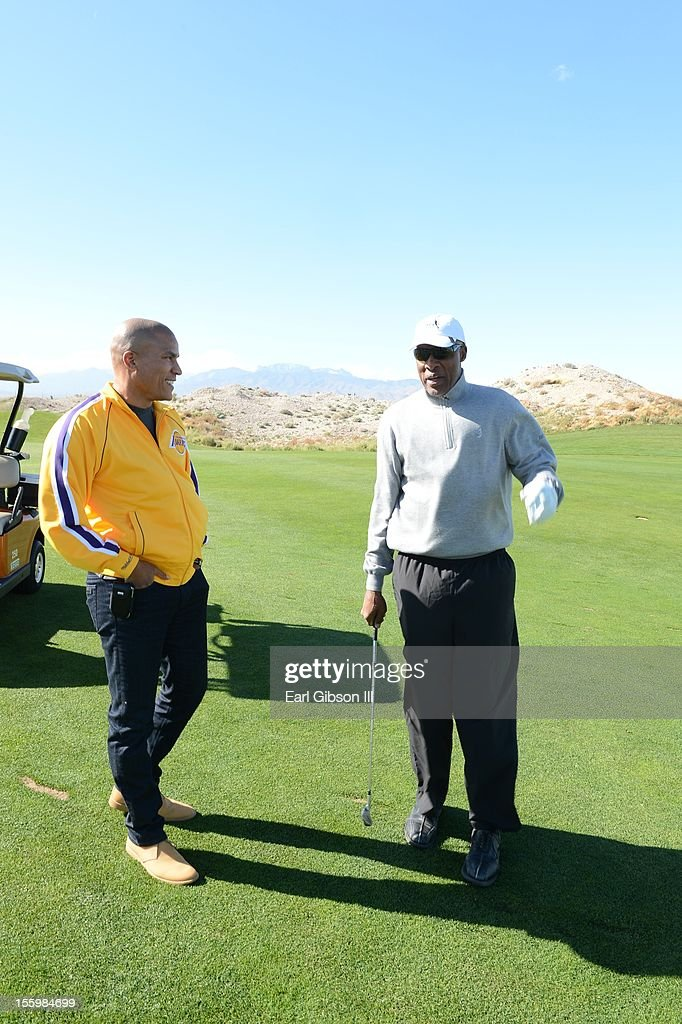 Paxton K. Baker and Julius 'Dr Jay' Erving talk at the First Annual Soul Train Celebrity Golf Invitational on November 9, 2012 in Las Vegas, Nevada.
