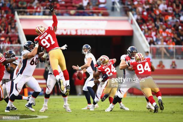 Paxton Lynch of the Denver Broncos looks to pass the ball against the San Francisco 49ers at Levi's Stadium on August 19 2017 in Santa Clara...
