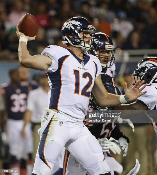 Paxton Lynch of the Denver Broncos passes against the Chicago Bears during a preseason game at Soldier Field on August 10 2017 in Chicago Illinois...