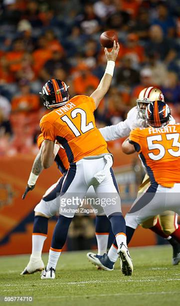 Paxton Lynch of the Denver Broncos passes during the game against the San Francsico 49ers at Sports Authority Field on August 20 2016 in Denver...