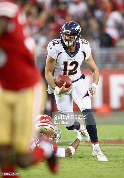 Paxton Lynch of the Denver Broncos runs with the ball against the San Francisco 49ers at Levi's Stadium on August 19 2017 in Santa Clara California