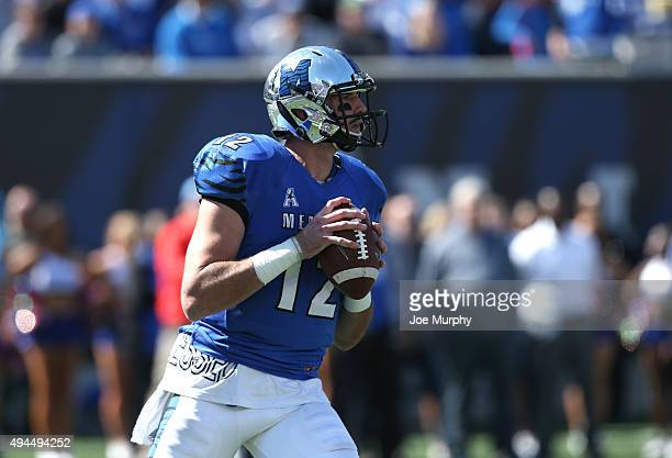 Paxton Lynch of the Memphis Tigers looks to throw against the Mississippi Rebels on October 17 2015 at Liberty Bowl Memorial Stadium in Memphis...